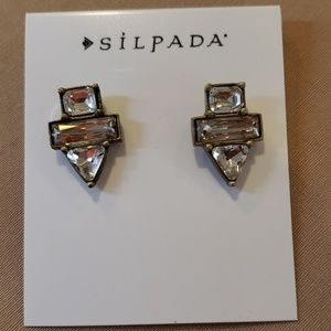Silpada Brass Antique Goldtone CZ Post Earrings
